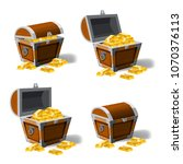 set old pirate chests full of...   Shutterstock .eps vector #1070376113