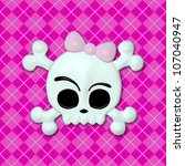 Girly Skullz: emo skull and crossbones with a pink bow on a pink argyle background.  Seamless tile. - stock photo