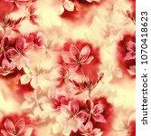 sakura blossom mix repeat... | Shutterstock . vector #1070418623