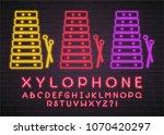 xylophone instrument icon neon... | Shutterstock .eps vector #1070420297