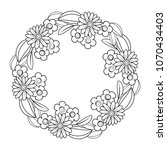 black and white doodle wreath | Shutterstock .eps vector #1070434403