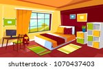 bedroom vector illustration of... | Shutterstock .eps vector #1070437403