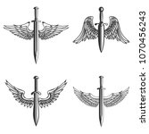set of emblems with medieval... | Shutterstock .eps vector #1070456243