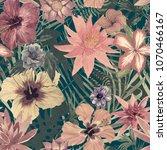 seamless watercolor exotic... | Shutterstock . vector #1070466167