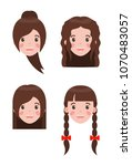 woman and hairstyle set braids... | Shutterstock .eps vector #1070483057