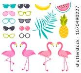 set of flamingo birds ... | Shutterstock .eps vector #1070490227