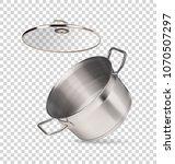 metal saucepan on a transparent ... | Shutterstock .eps vector #1070507297