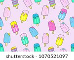 seamless pattern with cute ice... | Shutterstock .eps vector #1070521097