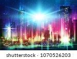 illustration of night urban... | Shutterstock . vector #1070526203