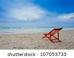 beach chair on the beach - stock photo