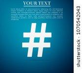 hashtag icon isolated on blue...