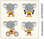 set of funny elephant is... | Shutterstock .eps vector #1070550347
