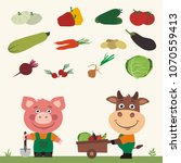 funny pig and bull farmers. set ...   Shutterstock .eps vector #1070559413
