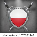 flag of poland. the shield with ... | Shutterstock .eps vector #1070571443
