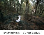woman in white dress in forest | Shutterstock . vector #1070593823