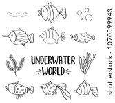 doodle fishes set for colorig ... | Shutterstock .eps vector #1070599943