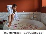 young beautiful caucasian... | Shutterstock . vector #1070605313