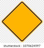 original color road sign yellow ... | Shutterstock .eps vector #1070624597