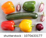 colorful vegetables on a gray...   Shutterstock . vector #1070633177