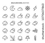 weather  bold line icons. the... | Shutterstock .eps vector #1070637863