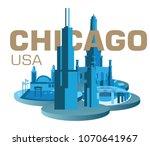 chicago water tower navy pier... | Shutterstock .eps vector #1070641967