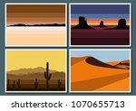 vector set of desert and... | Shutterstock .eps vector #1070655713