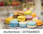 closeup of colorful macaroons... | Shutterstock . vector #1070668823