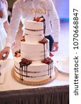 beautiful wedding cake with... | Shutterstock . vector #1070668847