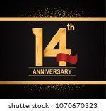 14th anniversary golden design... | Shutterstock .eps vector #1070670323