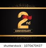 2nd anniversary golden design... | Shutterstock .eps vector #1070670437