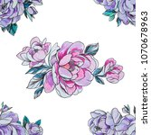 seamless pattern purple and red ... | Shutterstock . vector #1070678963