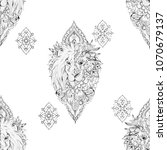 seamless drawing of a lion on a ... | Shutterstock . vector #1070679137
