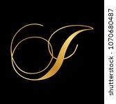 gold script letter i | Shutterstock .eps vector #1070680487