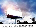 giant blank billboard against...   Shutterstock . vector #1070689757