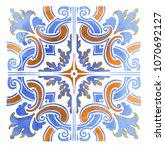 azulejos portuguese watercolor... | Shutterstock .eps vector #1070692127