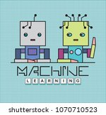 machine learning concept.... | Shutterstock .eps vector #1070710523