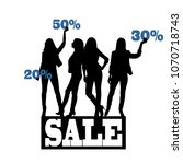 silhouette of women. sale | Shutterstock .eps vector #1070718743