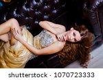 a beautiful lady with big... | Shutterstock . vector #1070723333
