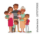 happy family with kids | Shutterstock .eps vector #1070729303