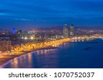 aerial view of barcelona beach... | Shutterstock . vector #1070752037