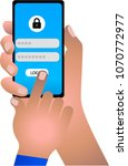 hand holding smartphone and... | Shutterstock .eps vector #1070772977