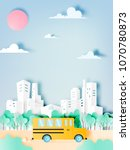school bus paper art style...   Shutterstock .eps vector #1070780873