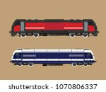 modern railway locomotive  | Shutterstock . vector #1070806337