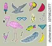 summer stickers set  flamingo ...   Shutterstock . vector #1070812577