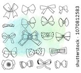 set of hand drawn ink bows ...   Shutterstock . vector #1070812583