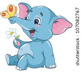 vector illustration - little cartoon elephant calf with a flower and butterfly isolated on white background - stock vector