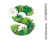 letter s of leaves and flowers. ... | Shutterstock . vector #1070898593
