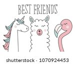unicorn  llama and flamingo ... | Shutterstock .eps vector #1070924453