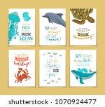 set of 6 pre made ocean... | Shutterstock .eps vector #1070924477