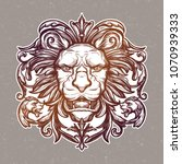 head of lion. isolated vector... | Shutterstock .eps vector #1070939333